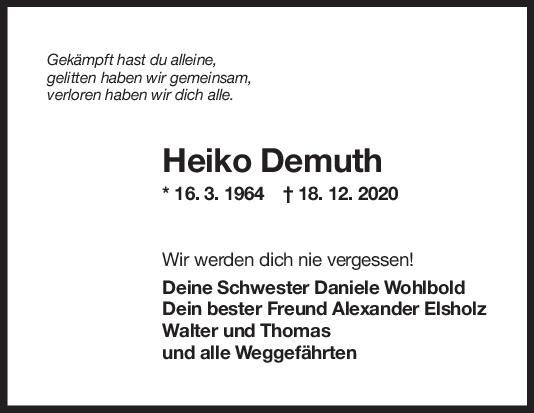 Trauer Heiko Demuth <br><p style=