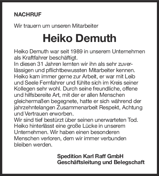 Nachruf Heiko Demuth <br><p style=