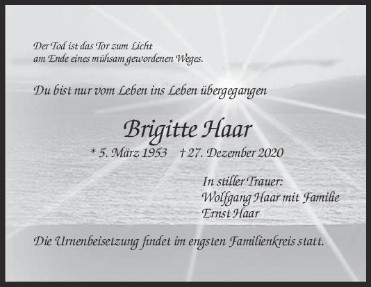 Trauer Brigitte Haar <br><p style=