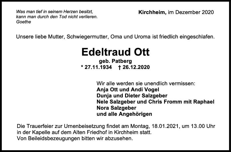 Trauer Edeltraud Ott <br><p style=
