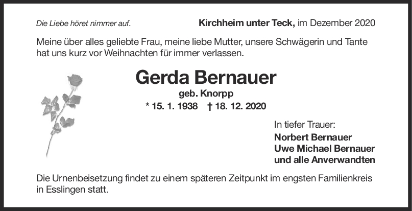 Trauer Gerda Bernauer <br><p style=