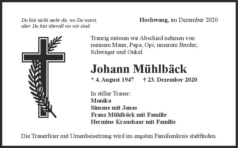 Trauer Johann Mühlbäck <br><p style=