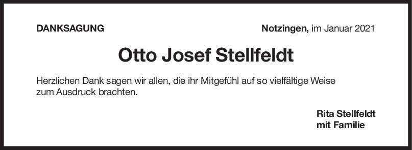 Danksagung Otto Josef Stellfeldt <br><p style=