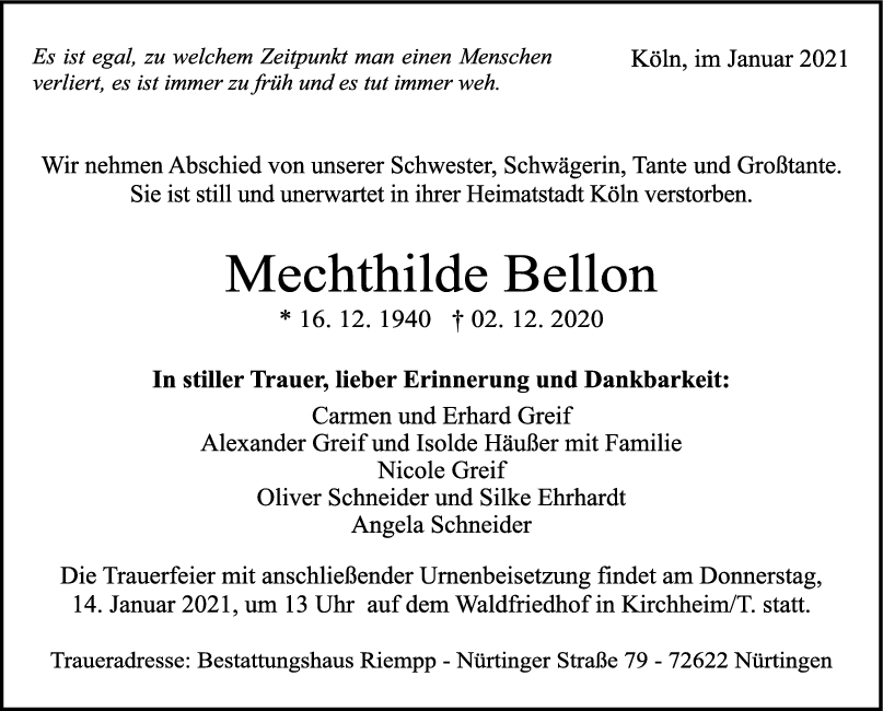 Trauer Mechthilde Bellon <br><p style=