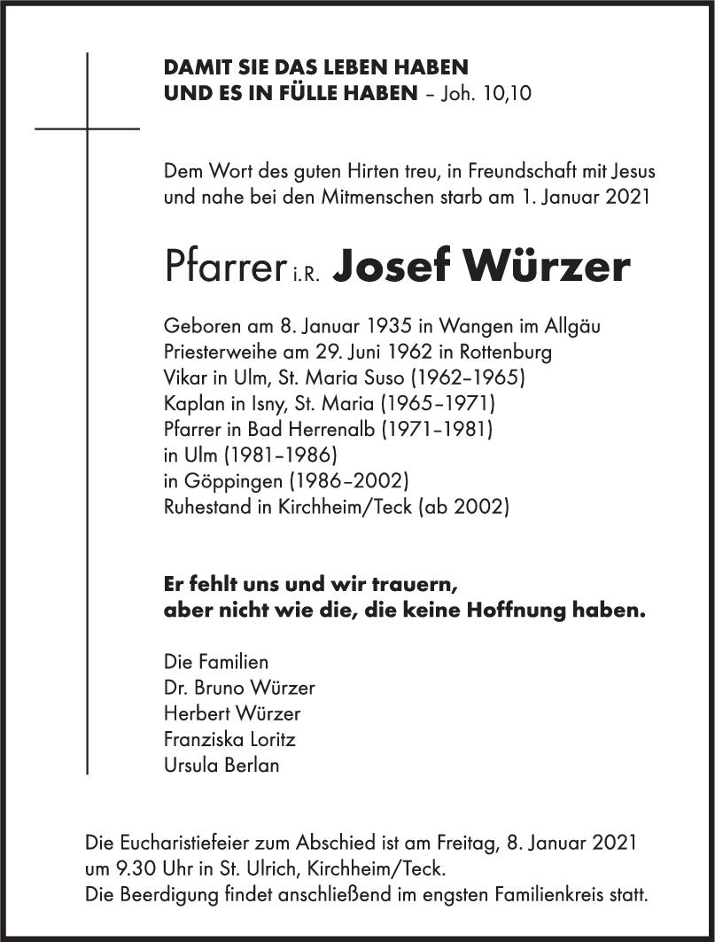 Trauer Josef Würzer <br><p style=