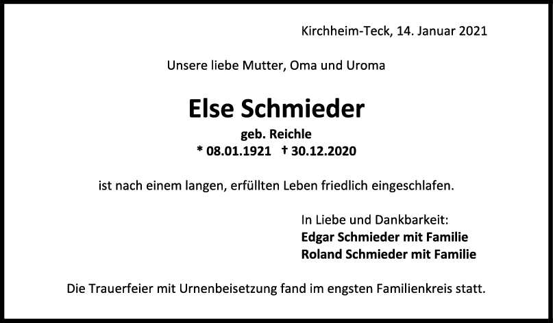 Trauer Else Schmieder <br><p style=