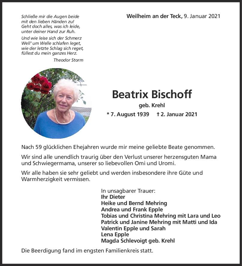 Trauer Beatrix Bischoff <br><p style=