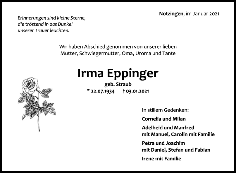 Trauer Irma Eppinger <br><p style=