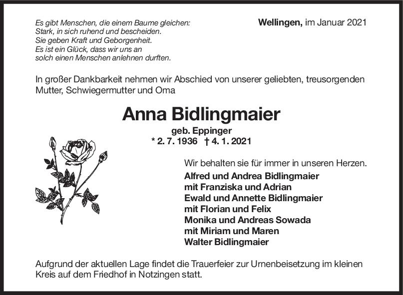 Trauer Anna Bidlingmaier <br><p style=