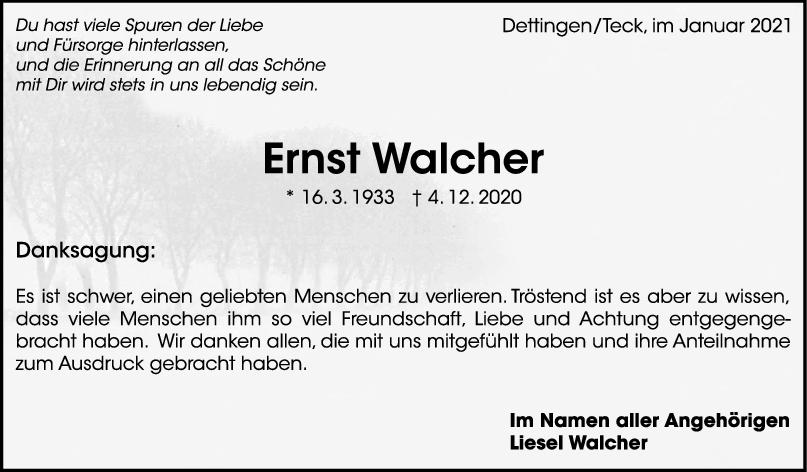 Danksagung Ernst Walcher <br><p style=