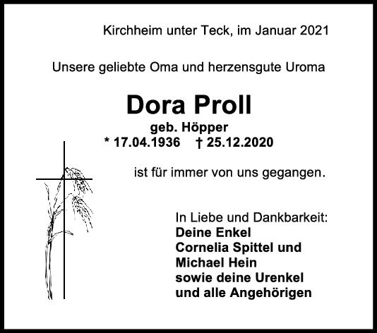 Trauer Dora Proll <br><p style=