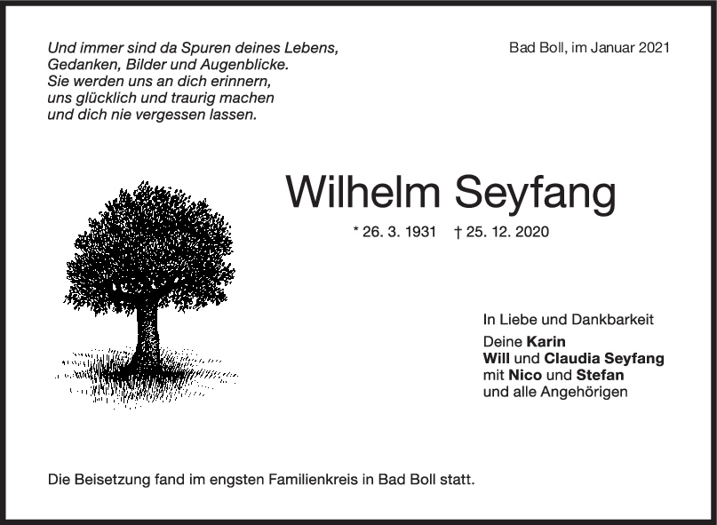 Trauer Wilhelm Seyfang <br><p style=