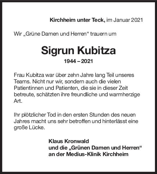 Trauer Sigrun Kubitzka <br><p style=