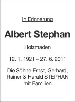 Nachruf Albert Stephan <br><p style=