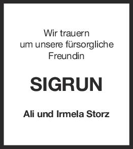 Nachruf Sigrun <br><p style=