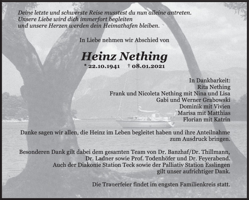 Trauer Heinz Nething <br><p style=