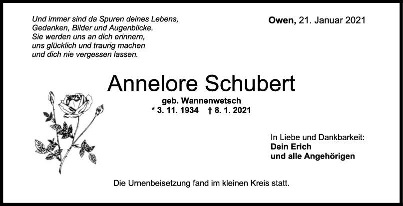Trauer Annelore Schubert <br><p style=