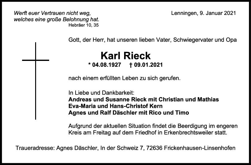 Trauer Karl Rieck <br><p style=