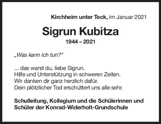 Nachruf Sigrun Kubitza <br><p style=