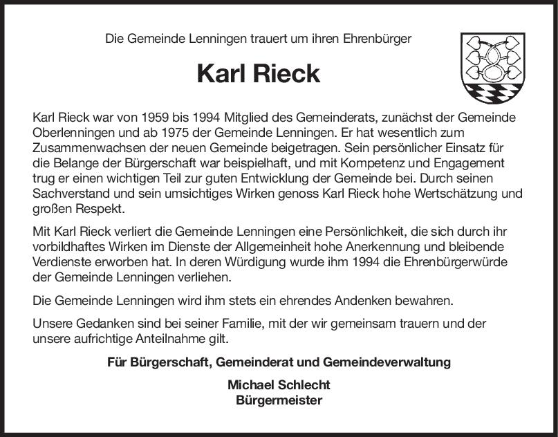 Nachruf Karl Rieck <br><p style=