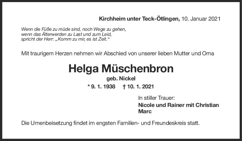 Trauer Helga Müschenborn <br><p style=