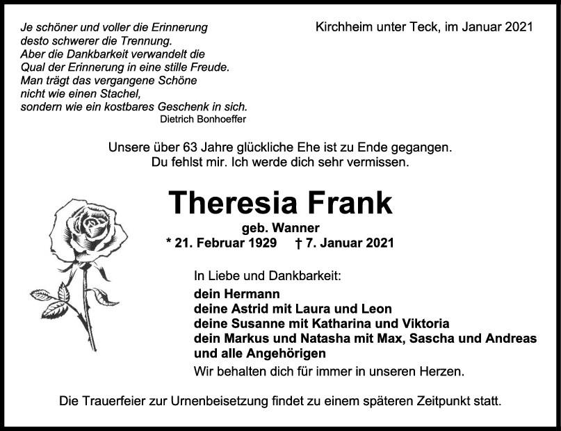 Trauer Theresia Frank <br><p style=