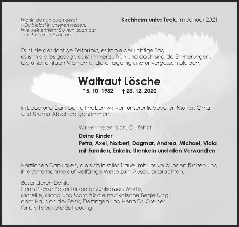 Trauer Waltraud Lösche <br><p style=