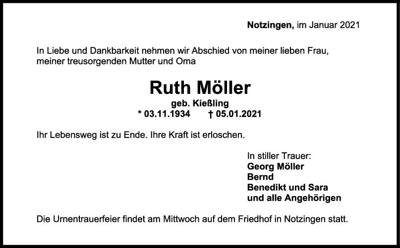 Trauer Ruth Möller <br><p style=