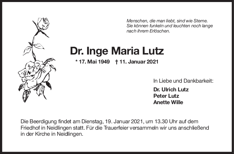 Trauer Dr. Inge Lutz <br><p style=