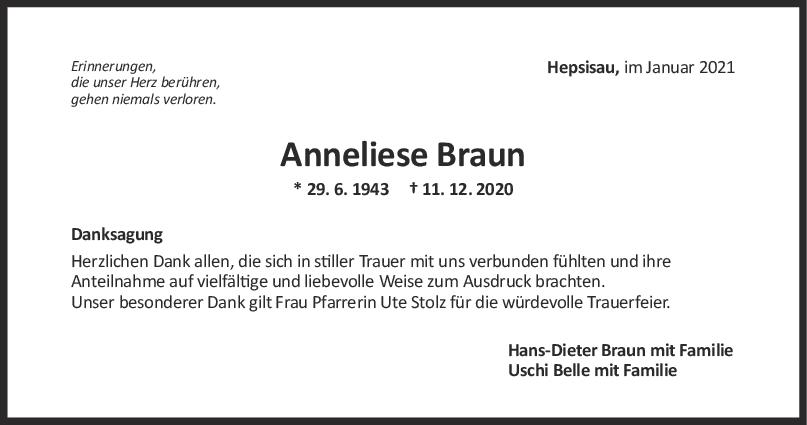 Danksagung Anneliese Braun <br><p style=