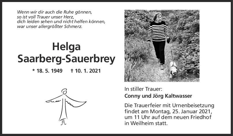 Trauer Helga Saarberg-Sauerbrey <br><p style=