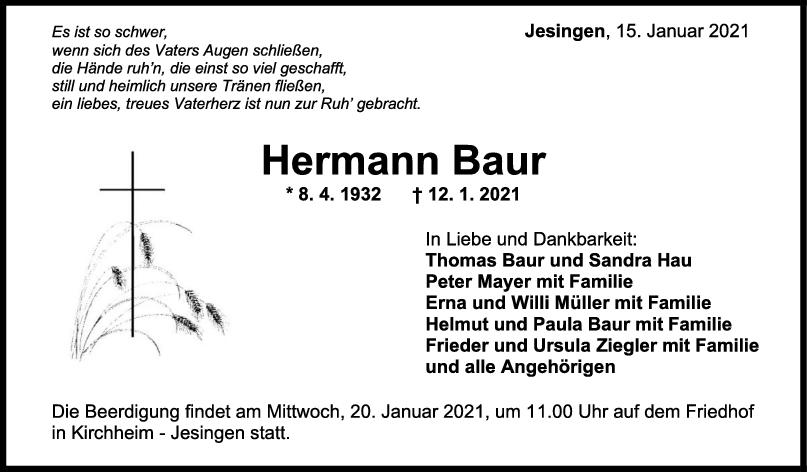 Trauer Hermann Baur <br><p style=
