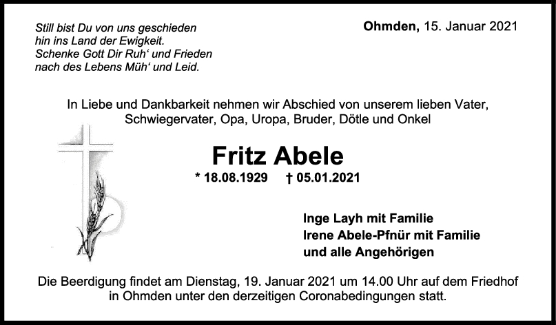 Trauer Fritz Abele <br><p style=