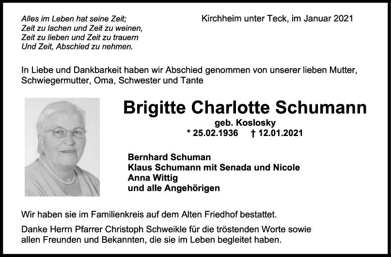 Trauer Brigitte Charlotte Schumann <br><p style=