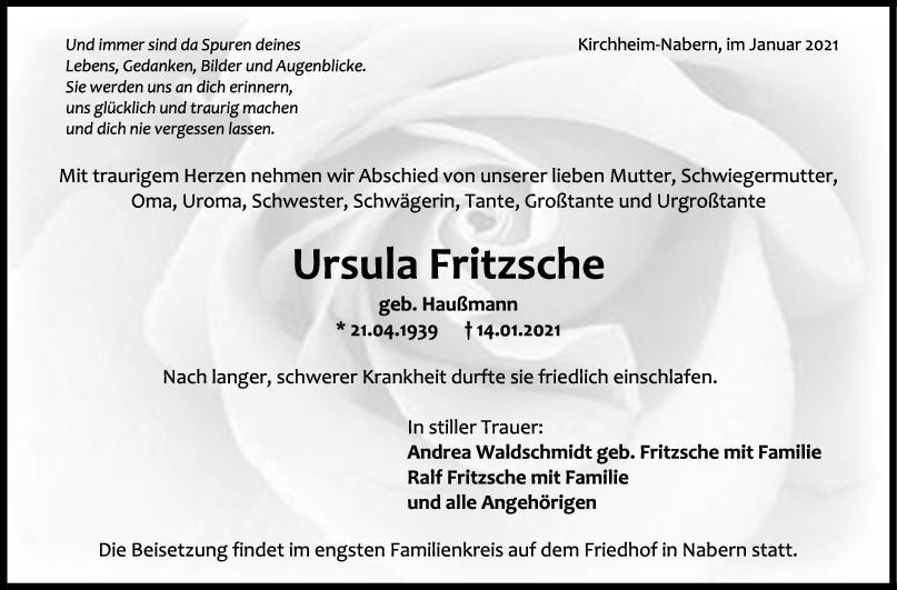 Trauer Ursula Fritzsche <br><p style=
