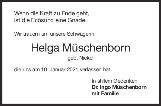 Nachruf Helga Müschenborn <br><p style=