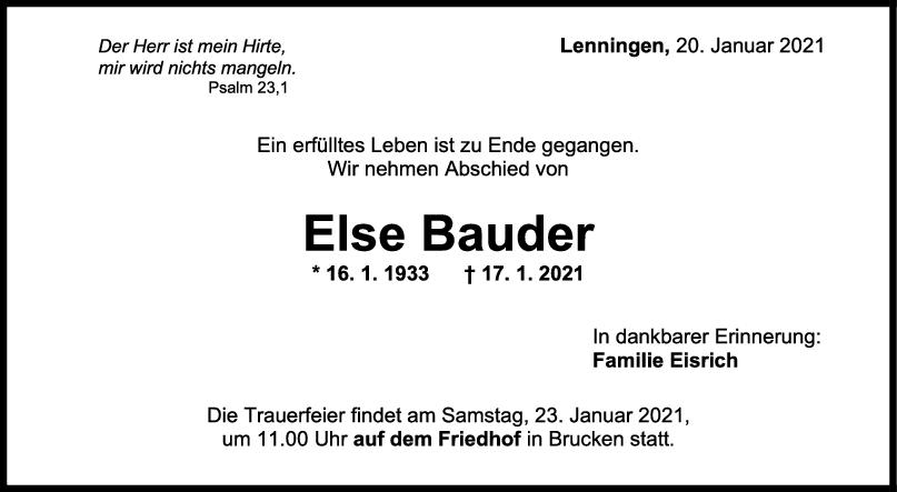 Trauer Else Bauder <br><p style=