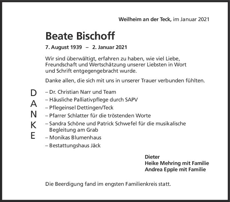 Danksagung Beate Bischoff <br><p style=