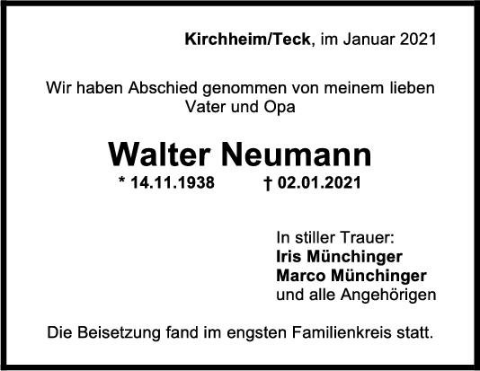 Trauer Walter Neumann <br><p style=