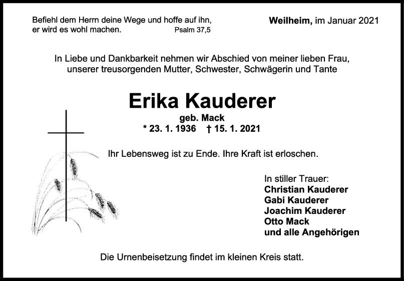 Trauer Erika Kauderer <br><p style=