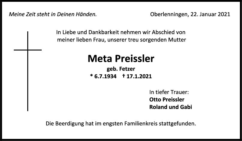 Trauer Meta Preissler <br><p style=