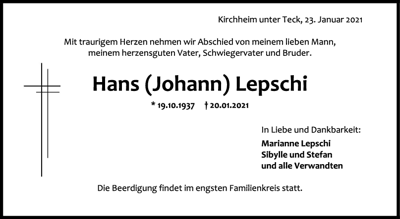 Trauer Hans (Johann) Lepschi <br><p style=