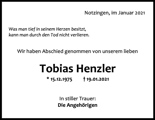 Trauer Tobias Henzler <br><p style=