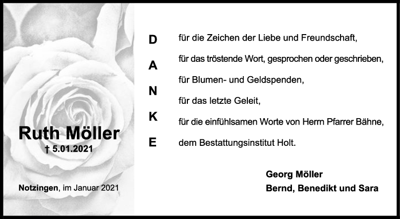 Danksagung Ruth Möller <br><p style=