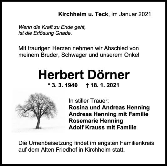 Trauer Herbert Dörner <br><p style=