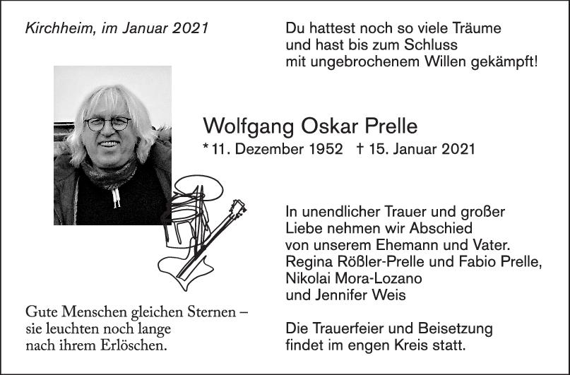 Trauer Wolfgang Oskar Prelle <br><p style=