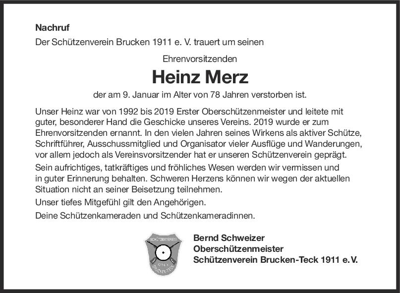Nachruf Heinz Merz <br><p style=