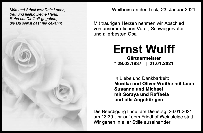 Trauer Ernst Wulff <br><p style=