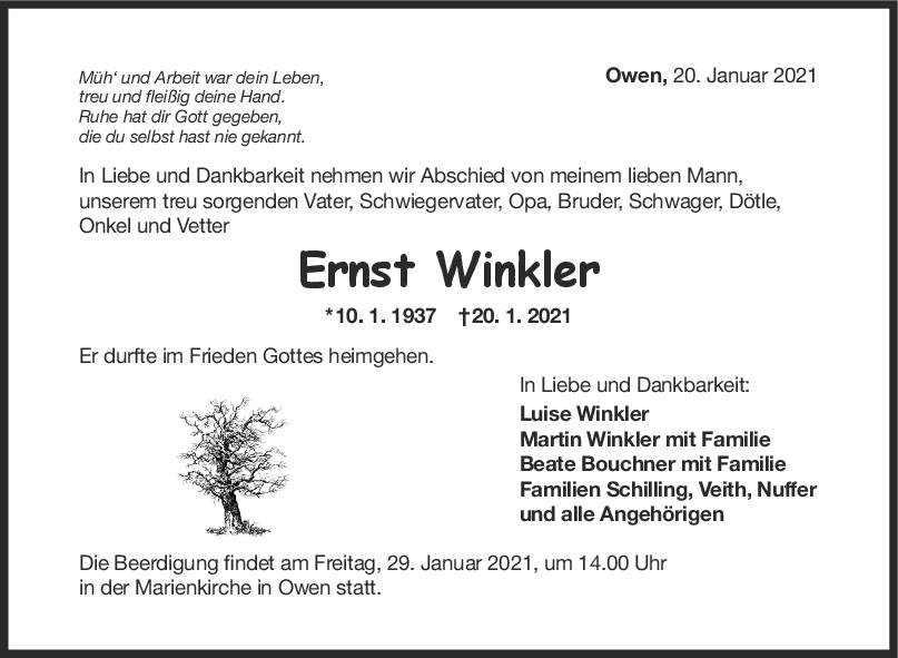 Trauer Ernst Winkler <br><p style=