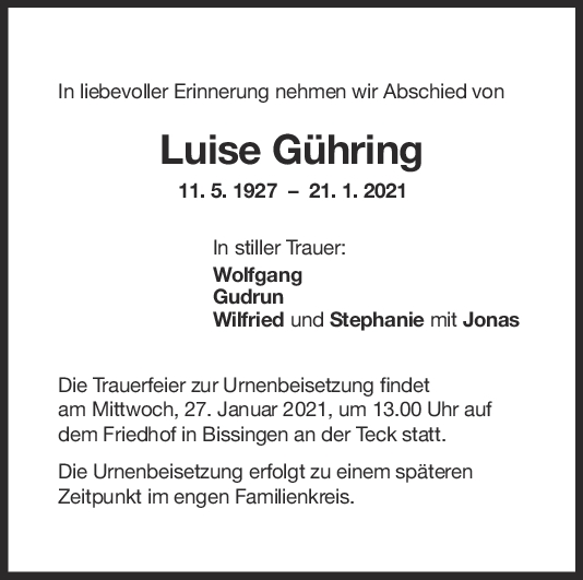 Trauer Luise Gühring <br><p style=